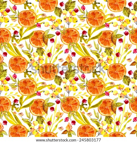 Watercolor floral seamless pattern, colorful natural illustration - stock photo