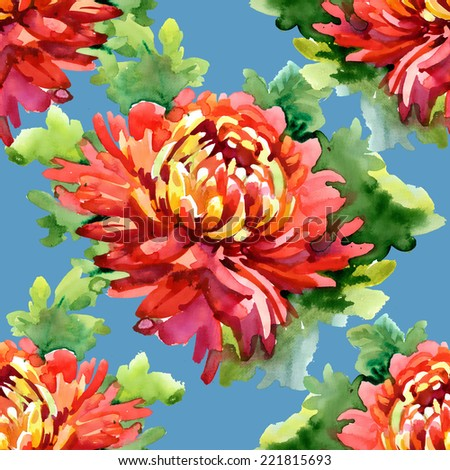 Watercolor floral seamless pattern on blue background - stock photo