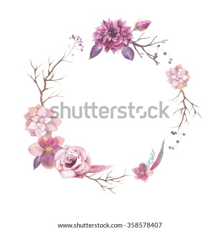 Watercolor floral wreath isolated on white background. Vintage style round frame with wood branches, rose, succulents, hellebore flowers, blue berries, leaves. Natural hand painted design object - stock photo