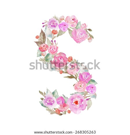 S Alphabet In Flowers Watercolor Flower Alphabet. Monogram S Letter Made of Flowers - stock ...