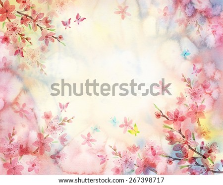 Watercolor flower background - stock photo