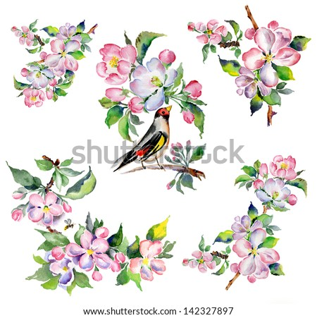 Watercolor flower garden -2 - stock photo