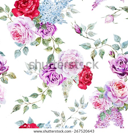 watercolor,flower pattern rose, vintage, lilac, leaves, retro, wallpaper - stock photo