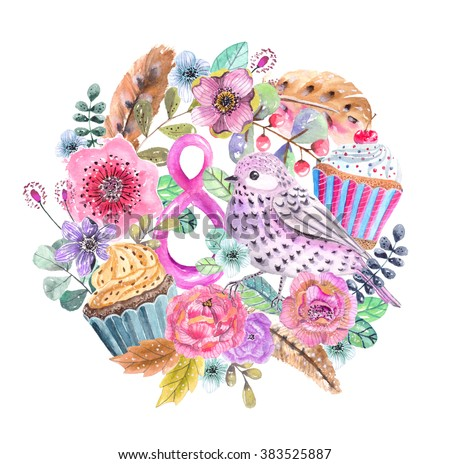 Watercolor flower wreath background for beautiful design, the 8th of march design, women's day - stock photo