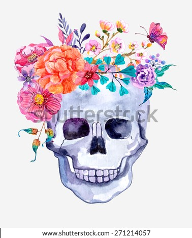 Watercolor flowers and skull background, colorful illustration - stock photo