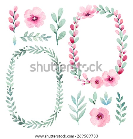 Watercolor flowers, leaves, flowers and wreath - stock photo