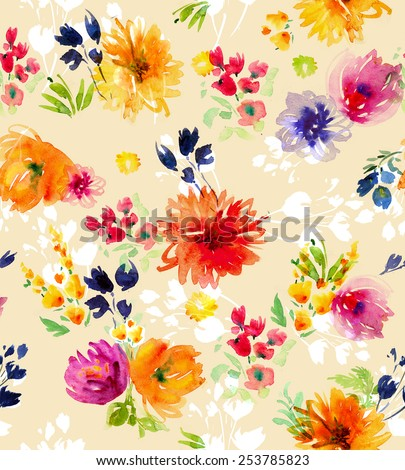 Watercolor  flowers seamless pattern - stock photo