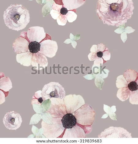 Watercolor flowers seamless pattern. Vintage wallpaper with pastel hydrangea, anemones, on pastel coffee background. Floral retro texture  - stock photo