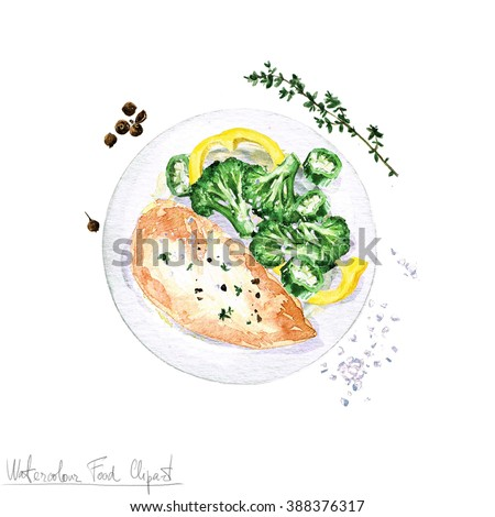 Watercolor Food Clipart - Chicken  - stock photo