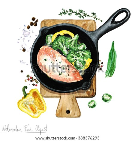 Watercolor Food Clipart - Chicken breast on a frying pan - stock photo