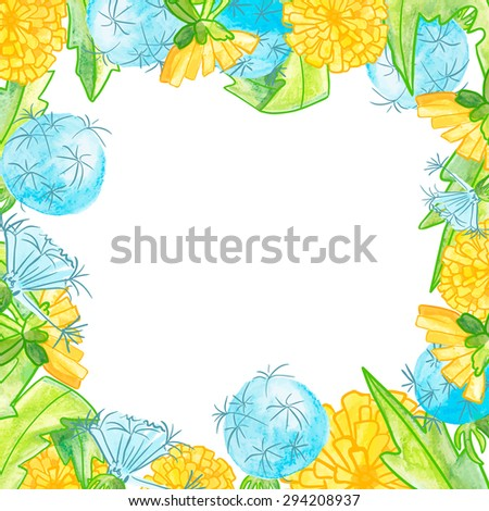 watercolor frame of dandelions with place for text on bright background - stock photo