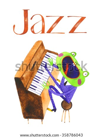 watercolor frog pianist, piano, cartoon illustration isolated on white background - stock photo