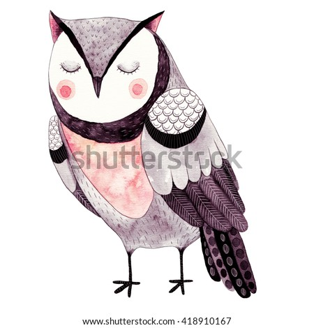Watercolor funny kids illustration with owl. Hand drawn animal drawing. Owl bird painting. Perfect for t-shirts,cards,prints,postcards. - stock photo