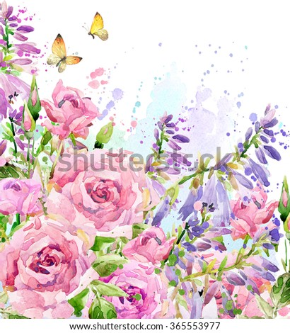Watercolor garden flower. Watercolor rose illustration. Watercolor flower background. Nature background. - stock photo