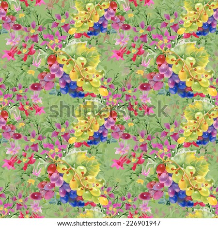Watercolor grapes and flowers seamless pattern on green background - stock photo