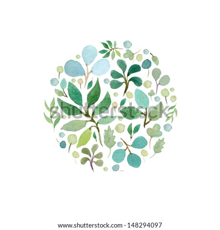 Watercolor green leafs frame template 2 - stock photo