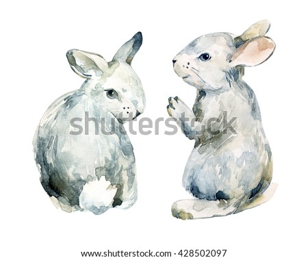 Watercolor grey rabbit set isolated on white background. Watercolor cute baby bunny. Hand painted illustration for childish design - stock photo