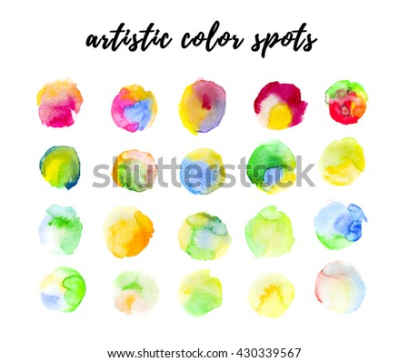 Watercolor hand drawn artistic color spots, paint drops isolated on white background. Ink drawing. Logo backdrop template. - stock photo