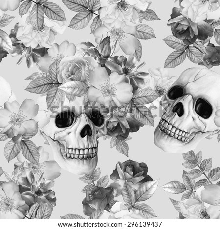 Watercolor hand-drawn black and white illustration. Monochrome picture. Halloween background with human skulls and roses. Floral seamless pattern - stock photo