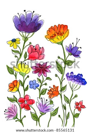 Watercolor hand drawn colorful flower brunches. - stock photo