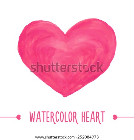 Watercolor hand drawn heart. - stock photo