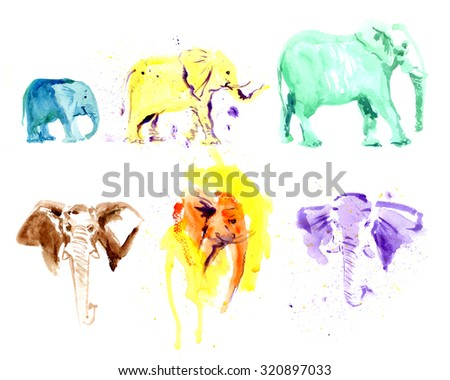 Watercolor hand drawn illustration of colorful elephants. Good for book illustration or print design. - stock photo