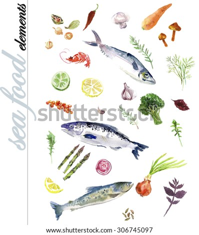 Watercolor hand drawn illustration of seafood elements on white background. - stock photo