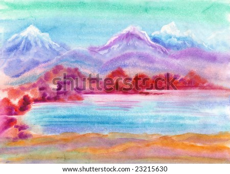 watercolor hand drawn landscape with mountains and lake - stock photo