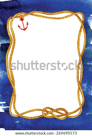 Watercolor hand drawn rope frame on grange background in indigo and ultramarine colors with red anchor and white area for your text.  - stock photo