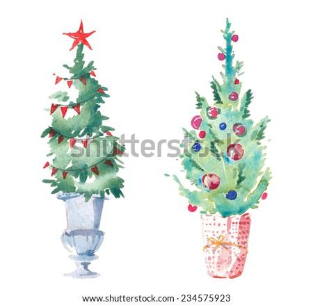 Watercolor hand drawn set of Christmas trees. - stock photo