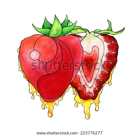 Watercolor hand drawn stylized two strawberries with flowing honey. - stock photo