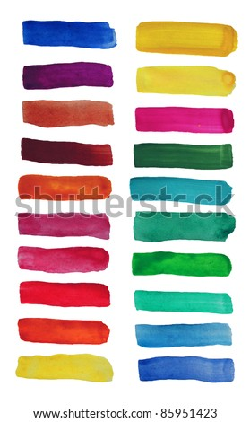 Watercolor hand painted brush strokes, banners. Isolated on white background - stock photo