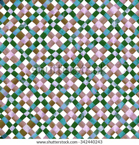 Watercolor hand painted brush strokes, bright colorful checkered striped background, Abstract bright colorful watercolor background, brown Checkered pattern - stock photo