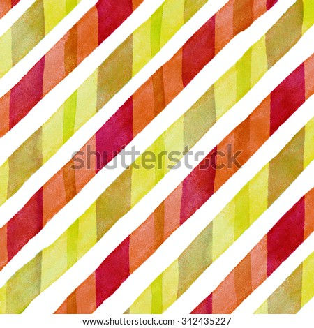 Watercolor hand painted brush strokes, bright yellow and red colorful striped background, Abstract bright colorful watercolor background, brown Checkered pattern - stock photo