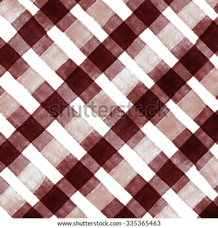 Watercolor hand painted brush strokes, dirty white, brown and white striped background, Abstract bright colorful watercolor background, brown Checkered pattern - stock photo