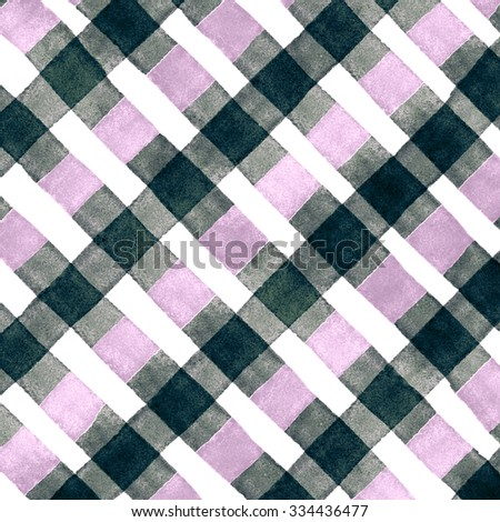 Watercolor hand painted brush strokes, pink, dirty green and white striped background, Abstract bright colorful watercolor background, brown Checkered pattern - stock photo