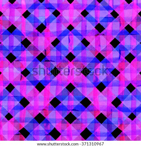 Watercolor hand painted brush strokes, purple, blue and pink striped background, Abstract bright colorful watercolor background, Checkered pattern. - stock photo
