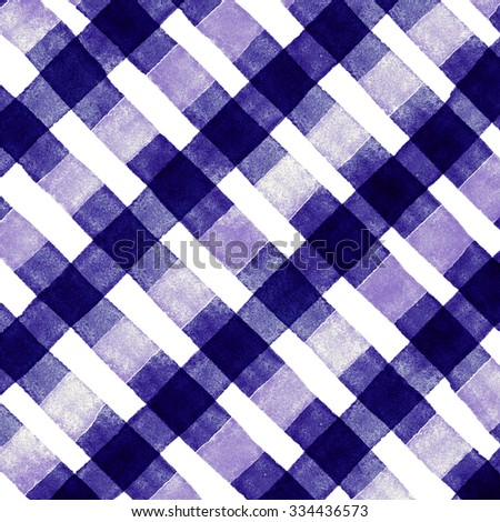 Watercolor hand painted brush strokes, purple, dirty pink and white striped background, Abstract bright colorful watercolor background, brown Checkered pattern - stock photo