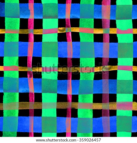 Watercolor hand painted brush strokes, purple, green and blue striped background, Abstract bright colorful watercolor background, Checkered pattern. - stock photo