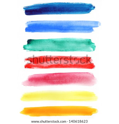 Watercolor hand painted brush strokes, Rainbow banners. Isolated on white background. - stock photo
