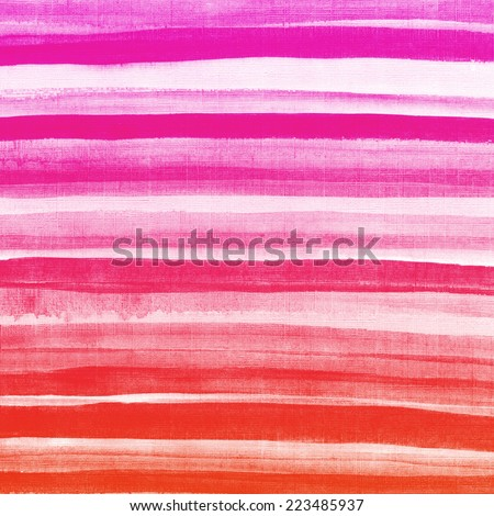 Watercolor hand painted brush strokes. Red and pink striped background. Abstract aquarelle macro texture background.  - stock photo