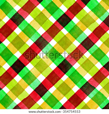 Watercolor hand painted brush strokes, red, yellow, green and blue striped background, Abstract bright colorful watercolor background, Checkered pattern. - stock photo