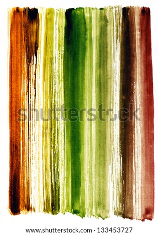 Watercolor hand painted brush strokes, striped background - stock photo