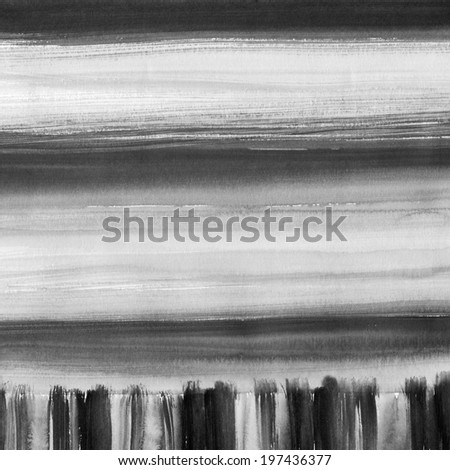 Watercolor hand painted brush strokes, striped background. Black abstract aquarelle macro texture background. - stock photo