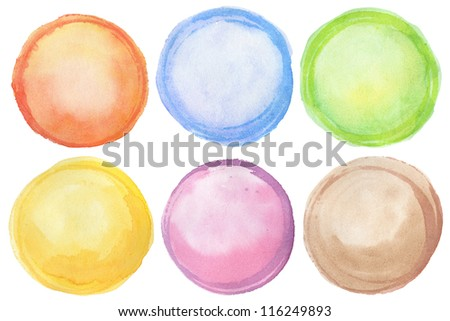Watercolor hand painted circles, isolated - stock photo