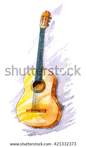 watercolor hand painted classical guitar. stylish brushed illustration  - stock photo