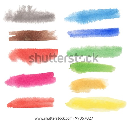Watercolor hand painted multicolor lines with soft edges. Isolated. Made myself. - stock photo