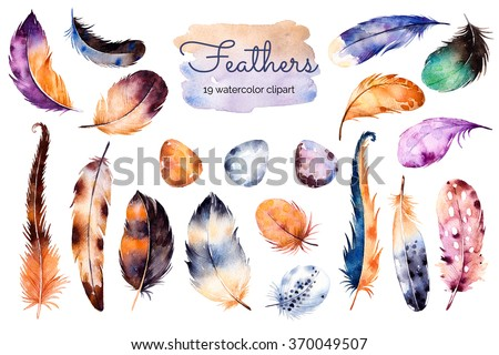 Watercolor hand painted set with 19 elements; feathers and eggs. Hand drawn collection with colorful feathers and eggs.Feather isolated on white background. Can be used for your own scene, blogs,print - stock photo