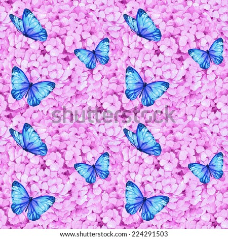 Watercolor handmade colorful floral seamless pattern set with hydrangea - stock photo