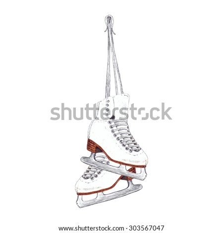 Watercolor Hanging Pair of Ice Skates, isolated on white background. Retro style. Figure Skating Element for your design. Hand drawn illustration.  - stock photo